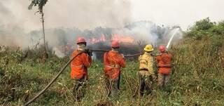 Brigadistas em combate aos incêndios na região do alto Pantanal. (Foto: Divulgação)