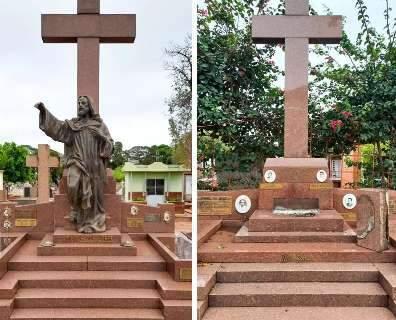 """Sumiço de """"Cristo"""" revela onda de furtos de estátuas em cemitério"""