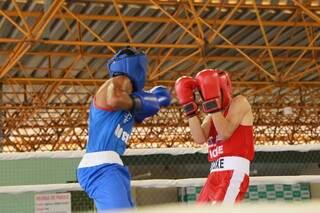 Atletas do boxe em disputa do campeonato em Campo Grande. (Foto: Kísie Ainoã)