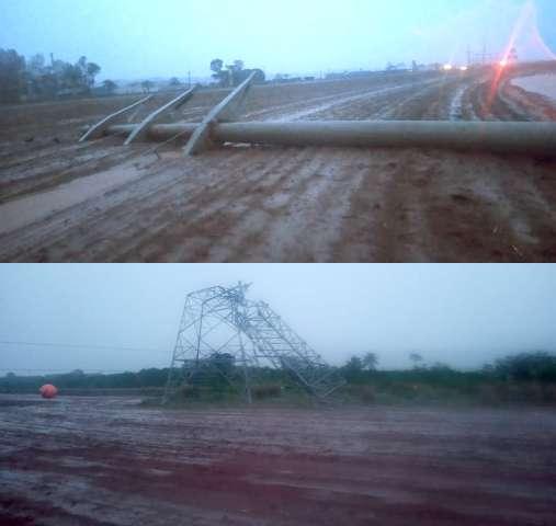 Vendaval em município de MS derruba duas torres de transmissão no mesmo dia