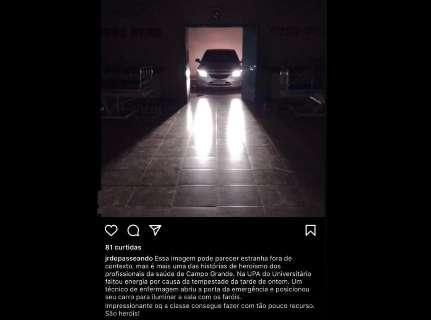 """Na """"arte do improviso"""", farol de carro é usado para iluminar UPA sem energia"""