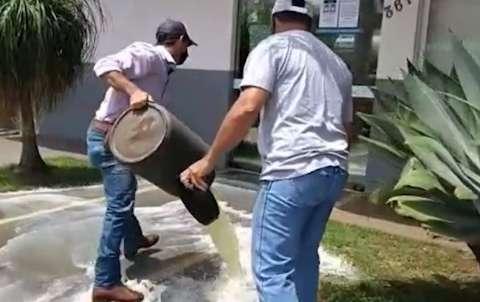 Depois de 10 dias sem energia produtores jogam leite em frente a Energisa
